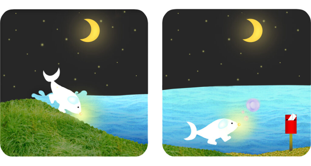 The Fish-dog's noise lit up touching the moon. The Fish-dog finds an envelope in his mailbox.