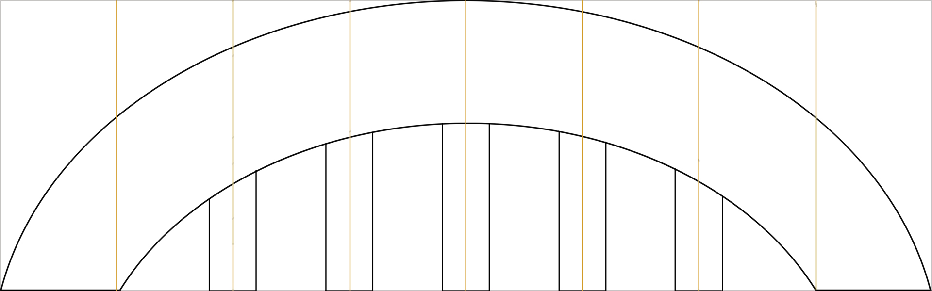 the scheme of the structure of a cardboard rainbow
