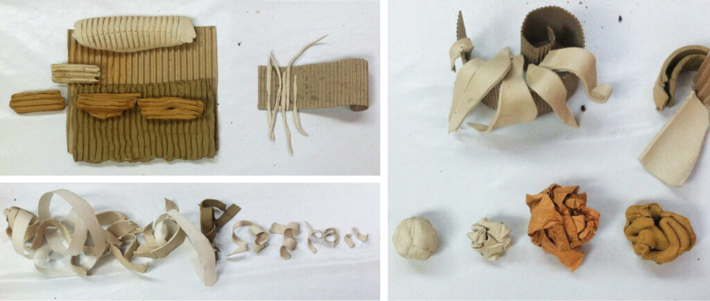 some possible ways to use clay and cardboard together
