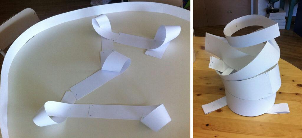 laboratori creativo con materiali non strutturati: le strisce di carta