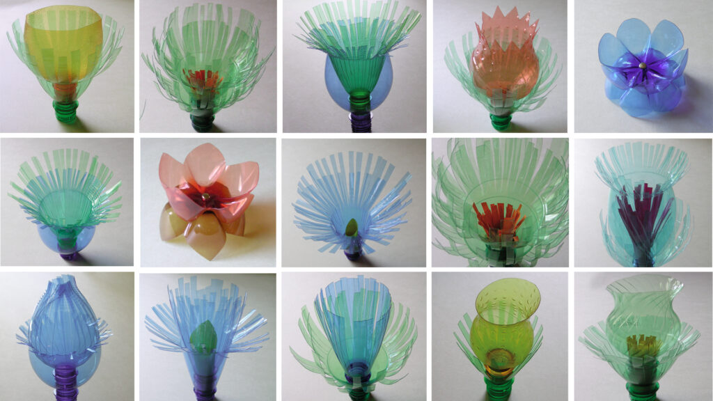 artificial flowers built with plastic bottles